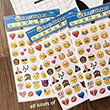 4 Pack 192 Piece Die Cut Emoji Stickers Ipod Ihome Iphone Home Button Phone Luggage Laptop Macbook Notebook Message Decal Puffy Smile Vinyl Sticker Decor Luxurious Unique Mini Cute Fun Face Decals Kit
