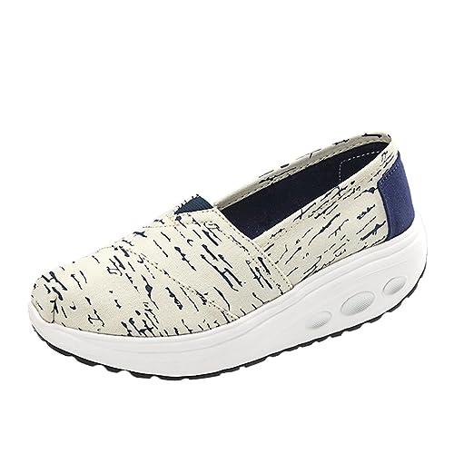 LINNUO Scarpe di Tela con Zeppa Donna Sneakers Running ...