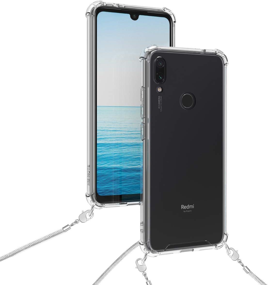 kwmobile Coque Compatible avec Xiaomi Redmi Note 7 /Étui de Protection en Silicone avec Collier pour T/él/éphone Portable Note 7 Pro Transparent-Noir