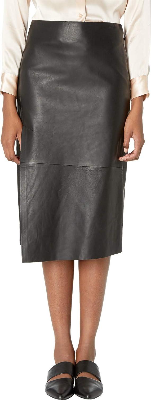 Black Vince Womens Leather Slit Skirt