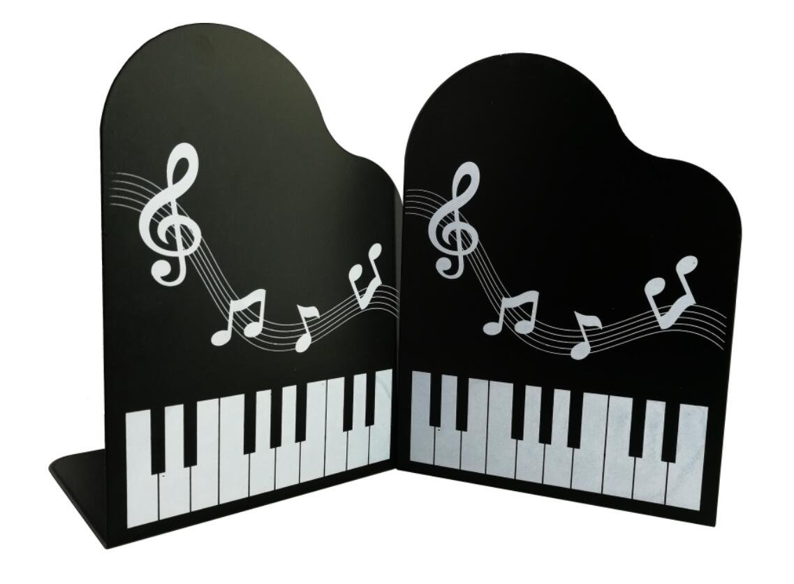 Adorable Piano Shape With Melody Metal Bookends Book Ends For Kids Book Lovers Study School Office Desk Home Library (Black)
