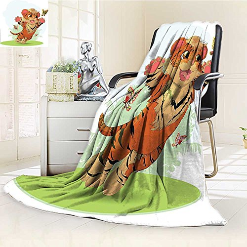 AmaPark Weave Pattern Extra Long Blanket Cub Playing With Butterflies in The Meadow Joyful Lively Baby Tiger Cat Lightweight Blanket Extra Big outlet