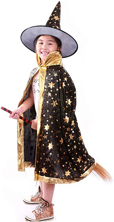 Kids Wizard Witch Cloak Cape Robe Hat Halloween Party Show Masquerade Costume