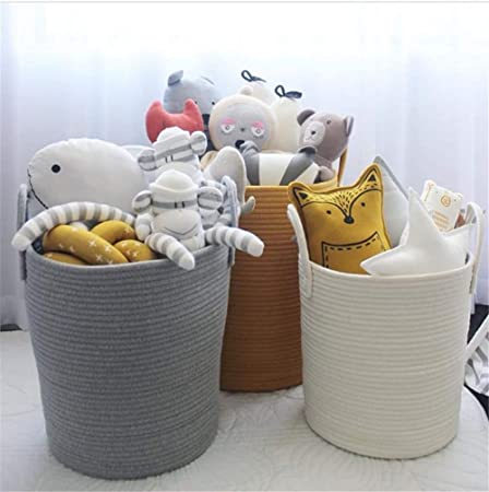 Storage Basket with Handles 45x40cm//35x30cm Baby Nursery Kids Toys Laundry Organizer Bin Large Cotton Rope Woven Gift Container for Living Room//Bedroom//Home Decor