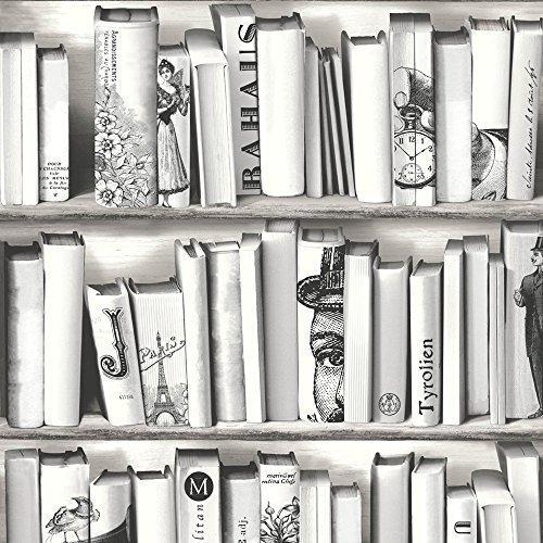 Muriva Book Shelf Case Pattern Library Vintage Motif White Wallpaper E82209 Amazoncouk DIY Tools