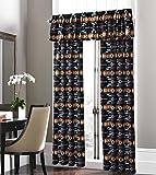 Cheap Southwest Design (Navajo Print) Black 5 piece Curtain Set, Design #16112