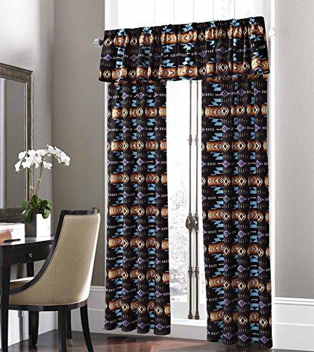 Southwest Design (Navajo Print) Black 5 piece Curtain Set, Design #16112 by Nu Trendz Signature