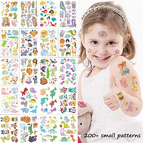 Cute Zoo Animal Temporary Tattoos for Kids 20 Sheets Small Fake Tattoo Stickers with 200+ Cute Patterns of Dinosaur Mermaid Dog Cat Lion Bird Elephant for Girls & Boys Birthday Party Favors & Gifts ()