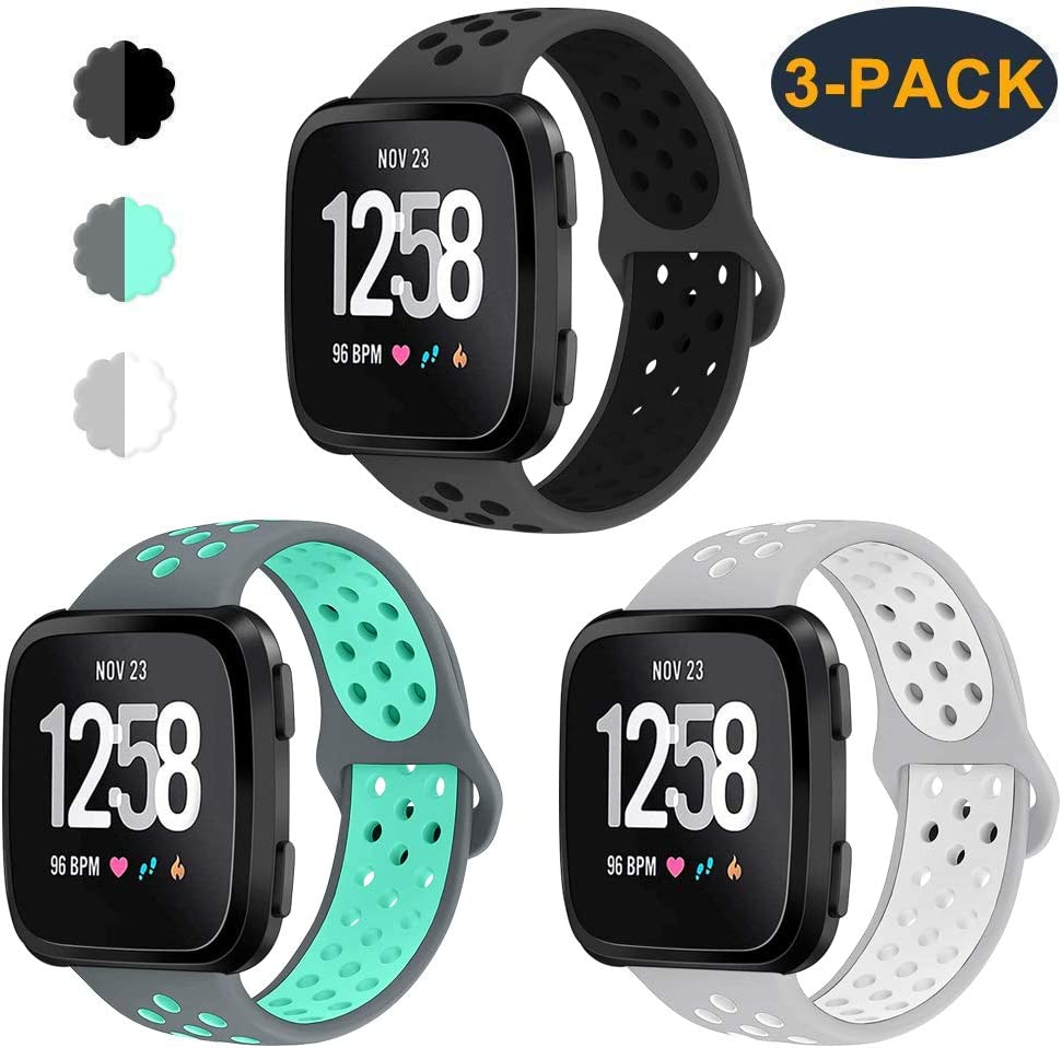 Sweat Resistant Replacement Accessory Strap Bracelet Compatible with Fitbit Versa Smartwtach CAVN 3-Pack Compatible with Fitbit Versa//Versa 2//Versa Lite Bands for Men Women