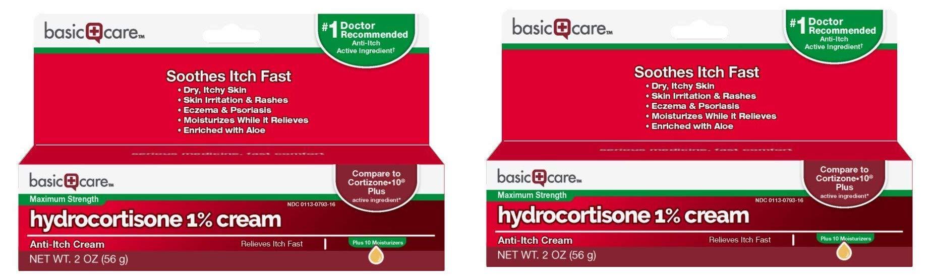Basic Care Hydrocortisone 1% Cream, Anti-Itch Cream, 2 Ounce (2-(Pack))
