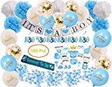 Baby Boy Shower Decorations, 105 Pcs | Includes Pom Poms, Banner, Hanging Swirls, Photo Booth Props, Acrylic Pacifiers, Sash and Blue, White and Confetti Balloons Decor Kit, Easy to Assemble