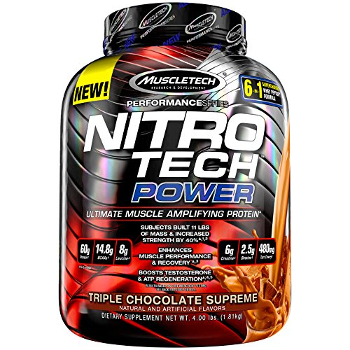 MuscleTech Nitro Tech Power Whey Protein Powder Musclebuilding Formula, Triple Chocolate Supreme, 4 Pounds For Sale
