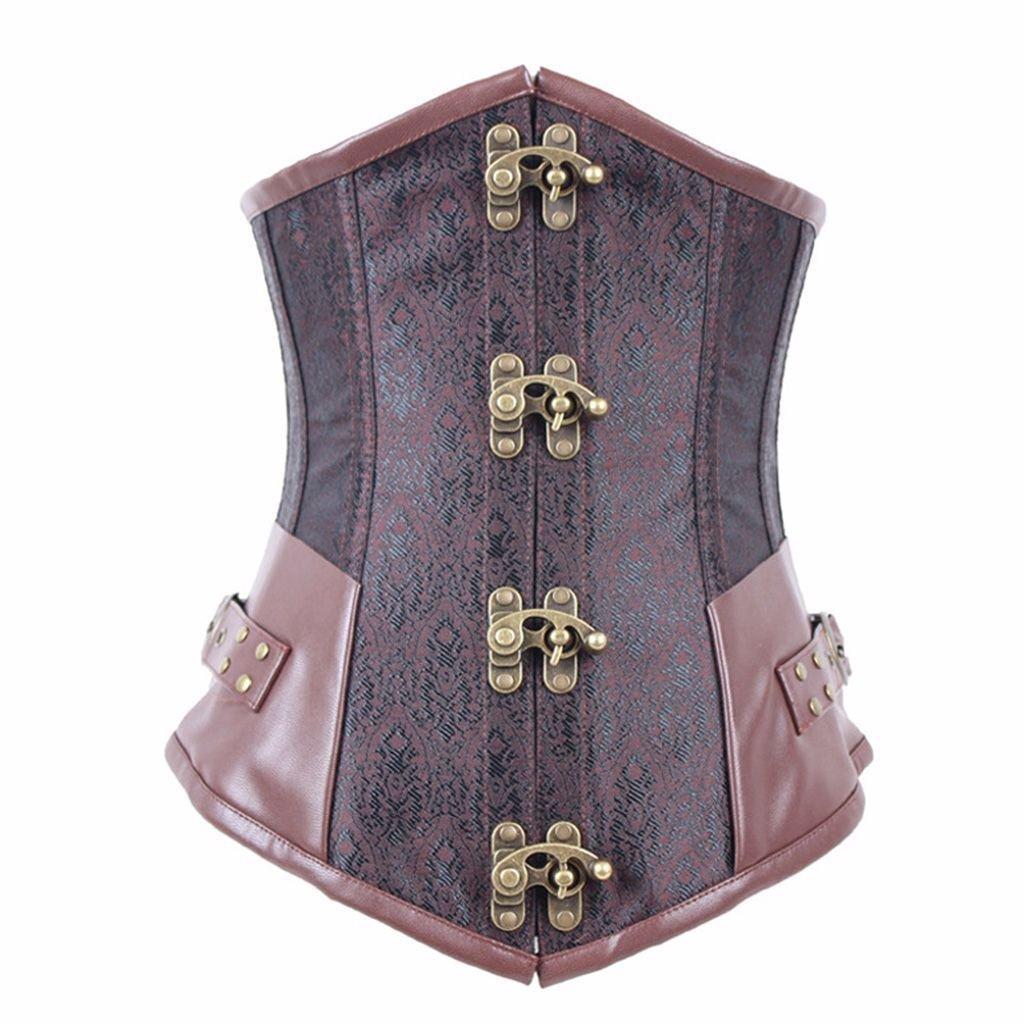 097ade61e Women s Brown Steampunk Corset Underbust Waist Cincher Gothic Bustier Top  at Amazon Women s Clothing store
