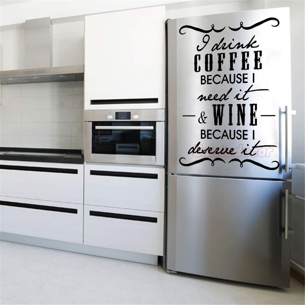 pegatina de pared Pegatina bebo café vino cocina nevera: Amazon.es ...