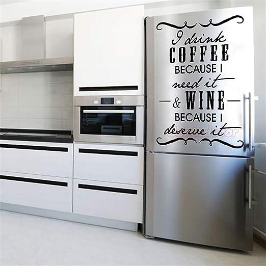 pegatina de pared Pegatina bebo café vino cocina nevera: Amazon.es ...
