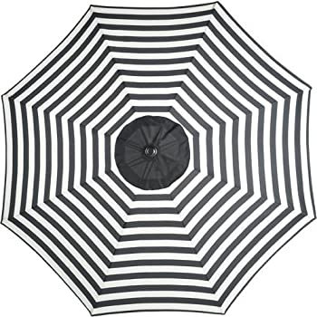 Black And White Striped 9u0027 Foot Outdoor Round Steel Patio Tilt Hand Crank  Polyester Umbrella