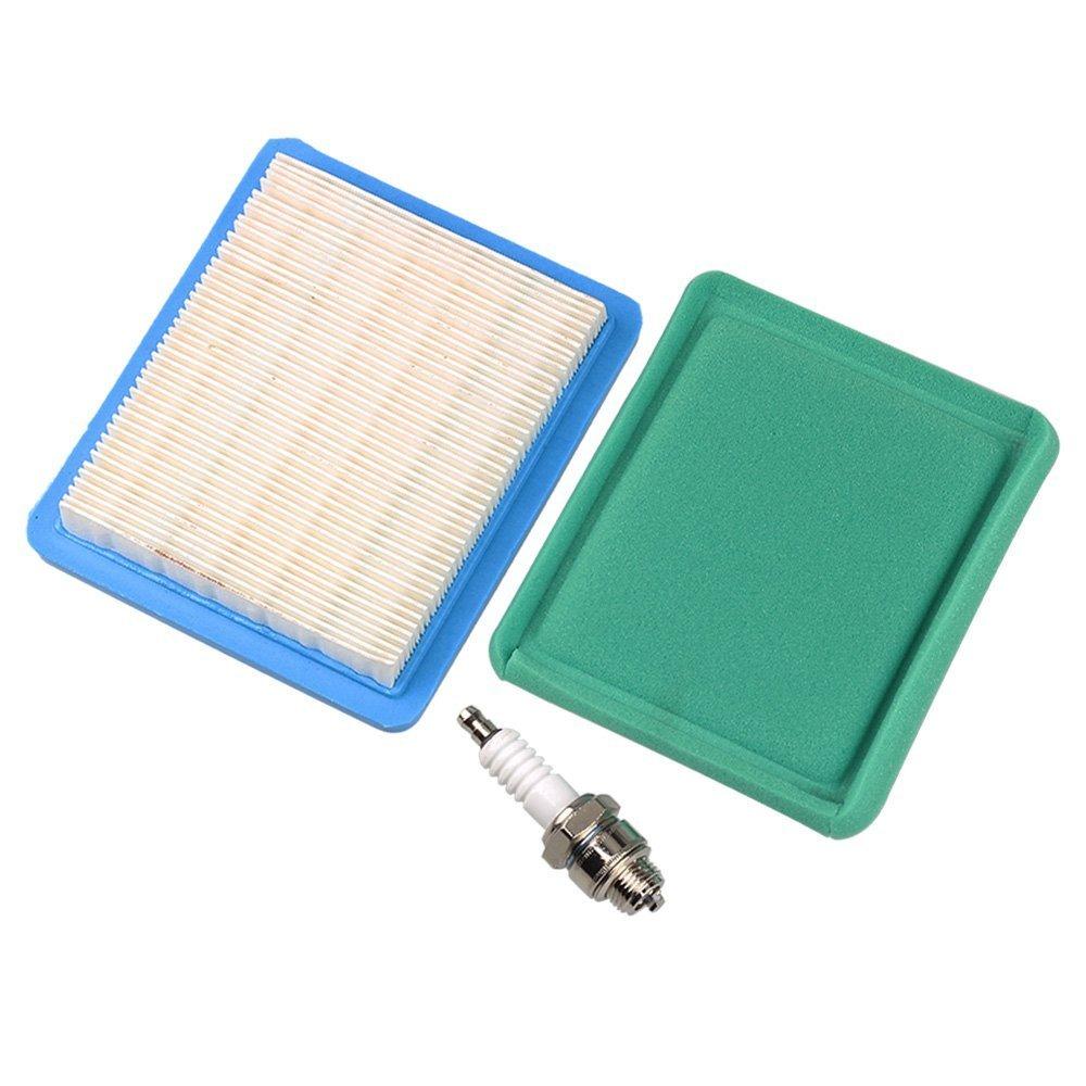 HIPA 491588 491588S 399959 Air Filter + Pre Filter Spark Plug for Briggs & Stratton 625e 675ex 725ex 625-675 Series and Quantum 3.5-6.75 Gross HP Push Mower