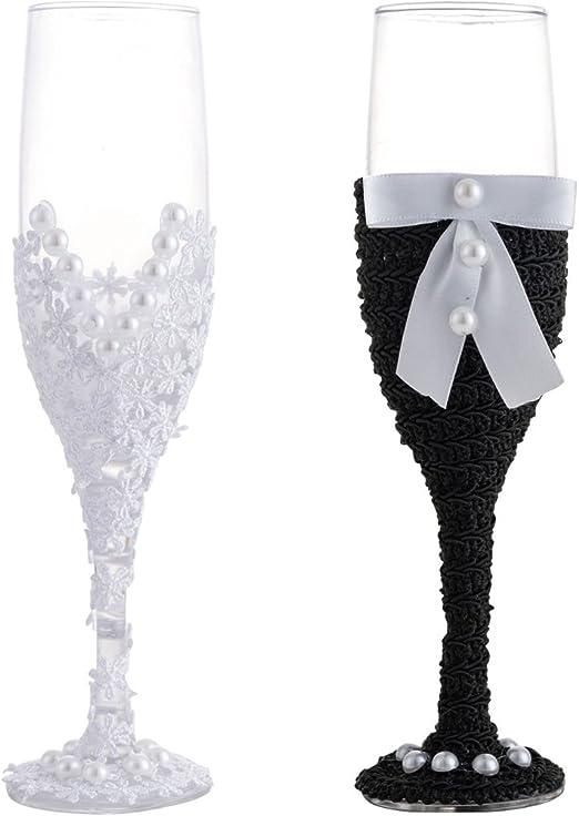LONGBLE - Copas de champán para boda o novio, copas de champán con vestido, 2 unidades de copas de champán de boda, copas de vino para novias o novias: Amazon.es: Hogar
