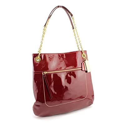 Amazon.com: Coach Poppy Patent Leather Slim Tote Handbag Purse ...