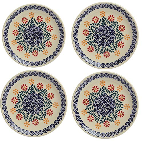 Polish Pottery Cheery Flowers Orange & Blue Salad Plates, Set of 4 (7.25
