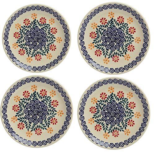 Polish Pottery Cheery Flowers Orange & Blue Salad Plates, Set of 4 (7.25