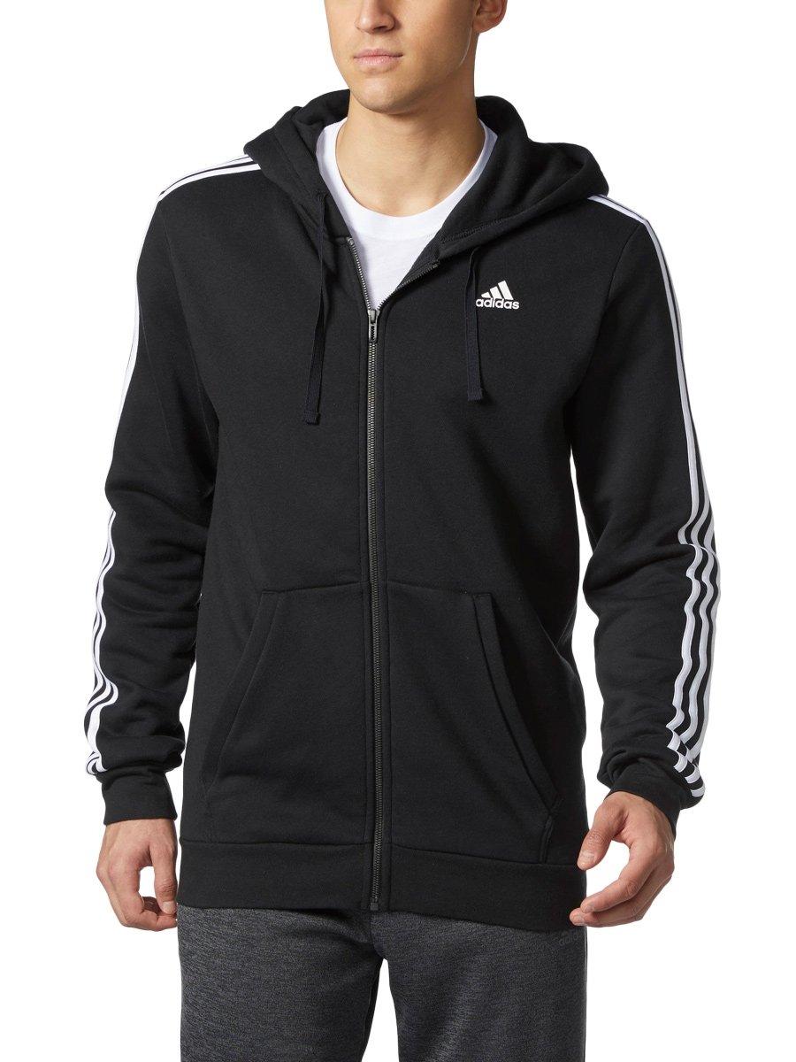 AdidasメンズAthletics Essential Cotton 3ストライプフルZipパーカー B01NCNIYW9 4L|ブラック/ホワイト ブラック/ホワイト 4L