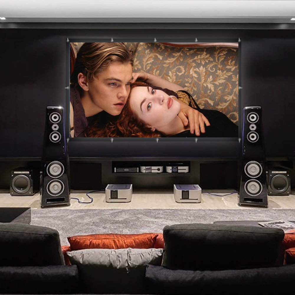 HENZIN 100\'\' Inch Projector Screen 16:9 HD 4K Portable Projection Screen Foldable for Home Theater Cinema Indoor Outdoor Front and Rear Projection