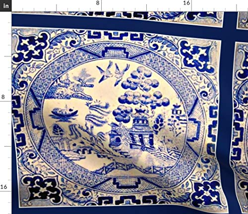 Spoonflower Ceramic Fabric - Asian Chinese Victorian Tile Blue Print on Fabric by The Yard - Velvet for Upholstery Home Decor Bottomweight Apparel