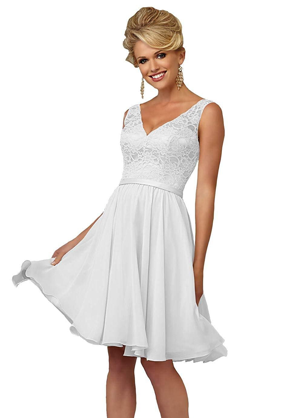 375e70159216 Elegant v-neck formal dress, a-line silhouette, lace bodice and chiffon  skirt, with satin waistband decorated, knee length, invisible bra inside,  ...