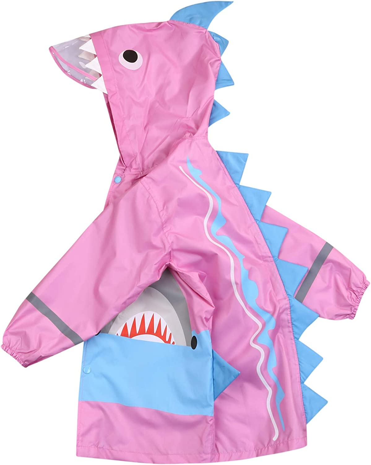 Kid's Raincoat 3D Shark Rainwear Lightweight Waterproof Hooded Coat Jacket Outwear Raincoat Hoodies