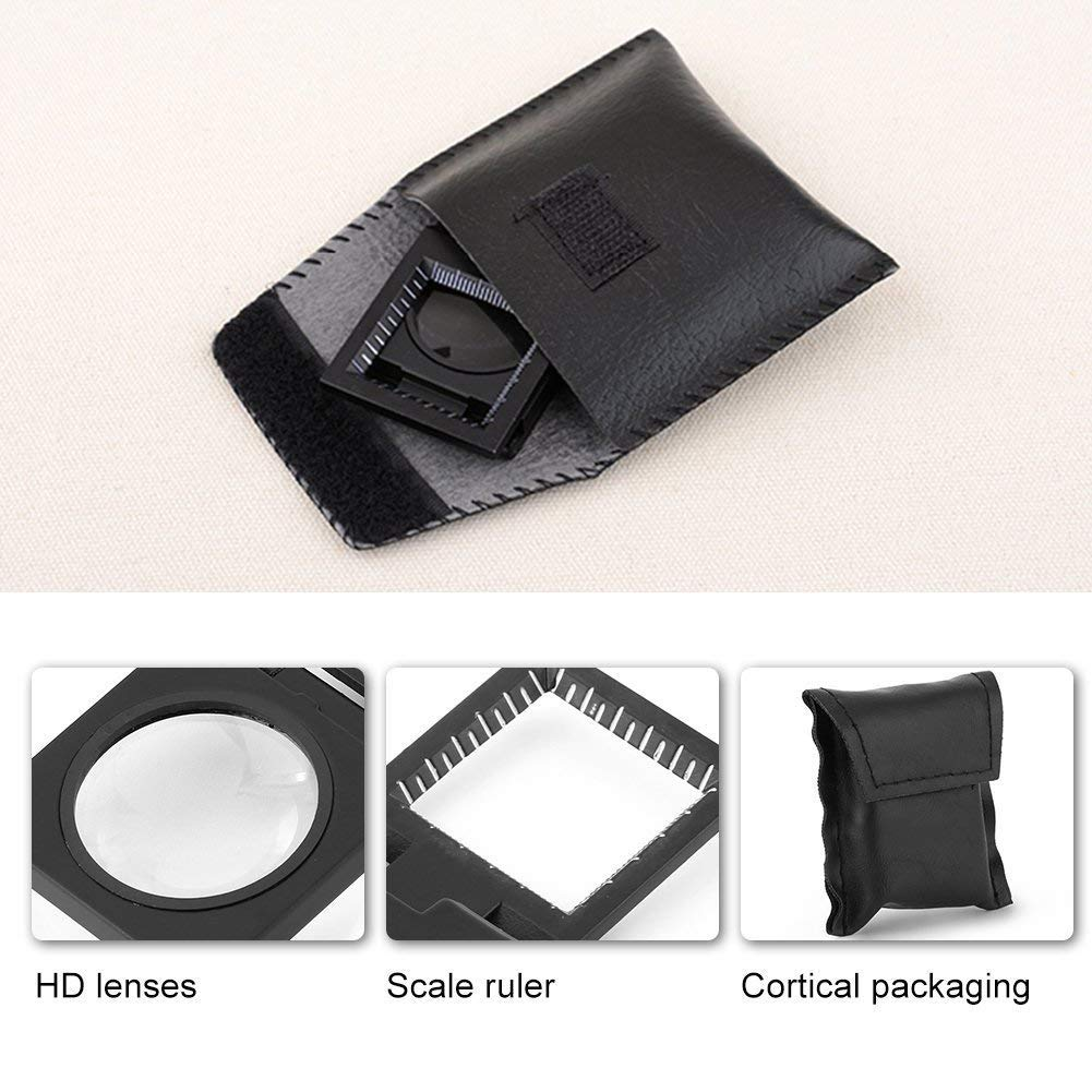 Folding Magnifier with Scale Hand-Free Standing Magnifying Glass Optical Lens for Textile Jewelry Coins Inspection Tool Pack of 3 10X 28mm Mini Three