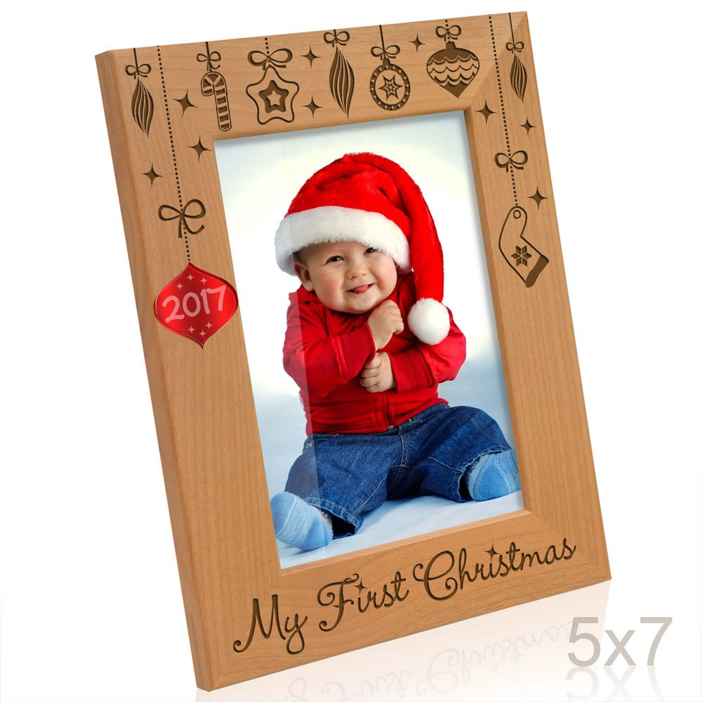 Kate Posh - 2017 Inlaid Ornament - My First (1st) Christmas Engraved Natural Wood Picture Frame. Baby's First Christmas, First Visit to Santa, Grandparents Gifts, Nursery Decor (5x7 Vertical)