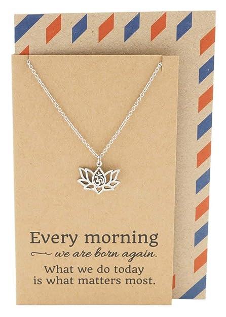 Amazoncom Quan Jewelry Yoga Lotus Flower Necklace With Om Symbol
