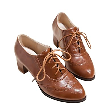 9327e6aa0b56 Susanny Women's Shoe Classic Lace Up Dress Pumps Mid Heel Wingtip Saddle  Oxfords Brogue Shoes