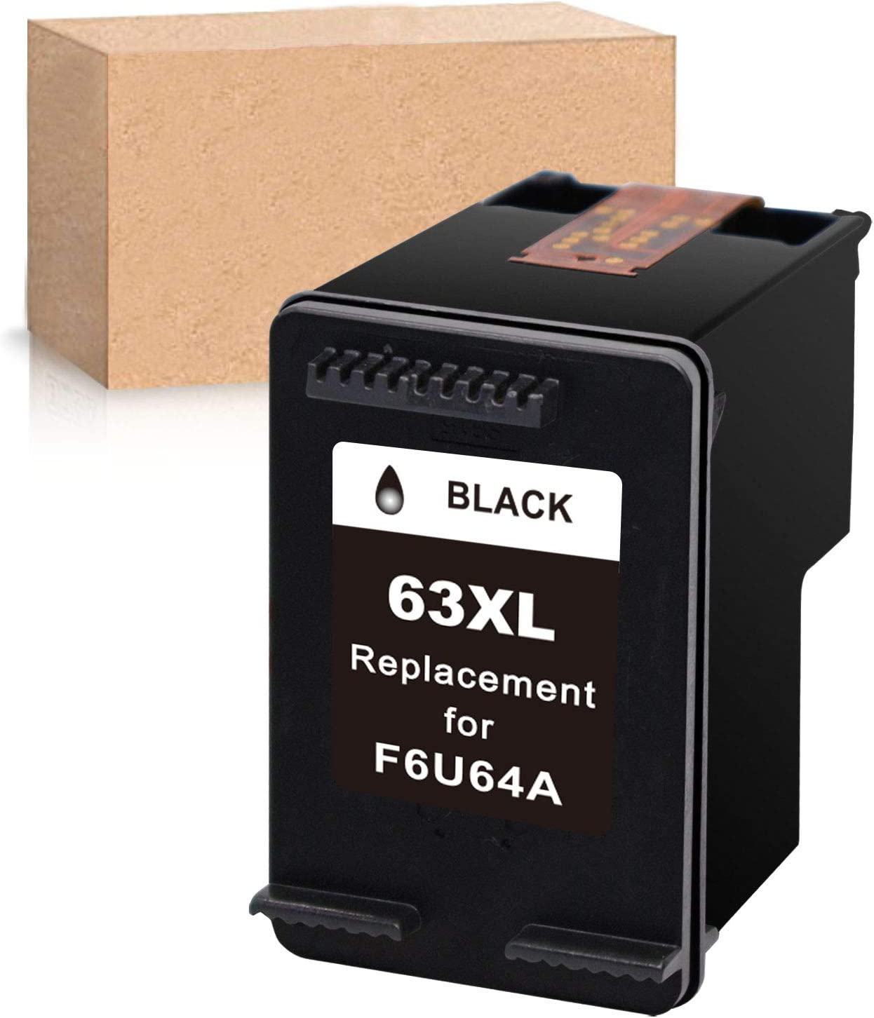 Economink Remanufactured Ink Cartridge Replacement for HP 63XL 63 XL Black Used in Envy 4520 3634 OfficeJet 3830 5252 4650 5258 4655 4652 5255 DeskJet 3636 1111 3630 1112 3637 3632 Printer (1-Pack)