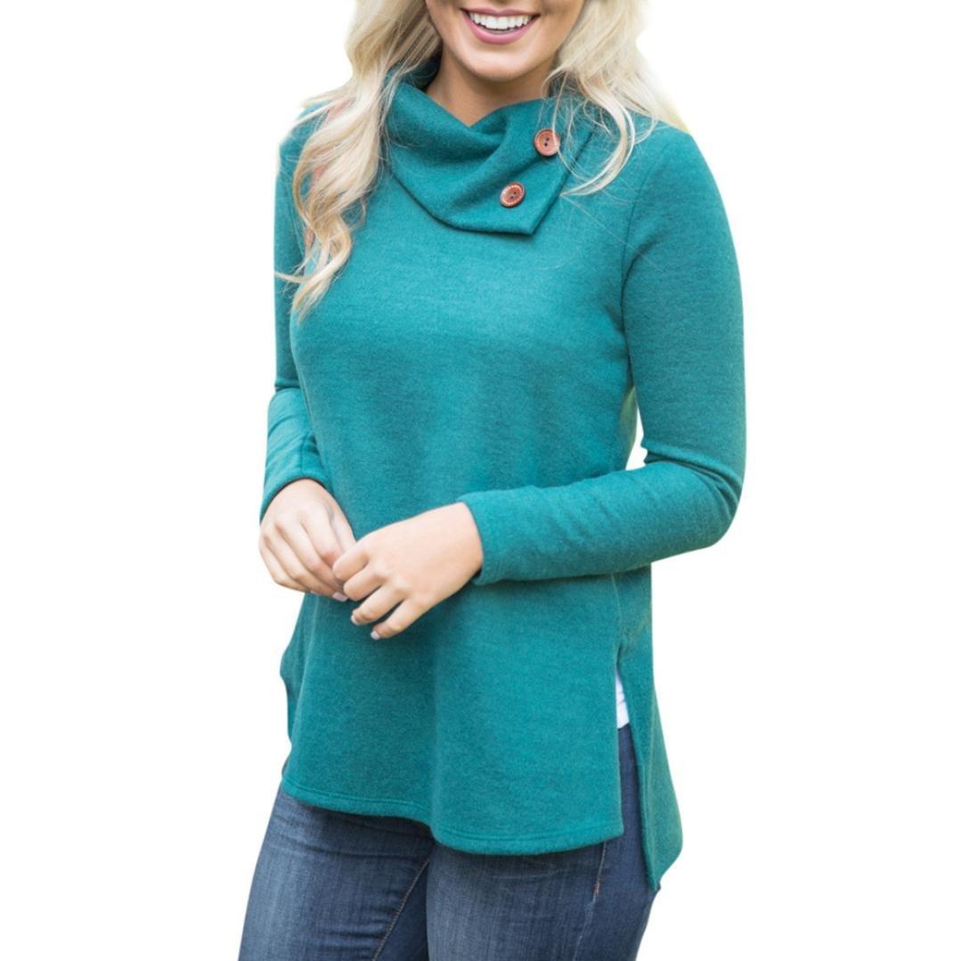 KaiCran Women Fashion Sweatshirt Women's Casual Turtleneck Sweatshirt Pullover Tops Blouse (Green, XLarge)
