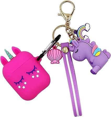 Purple Unicorn Aiprod 1 2 Case with Keychain//Fur Ball//Strap