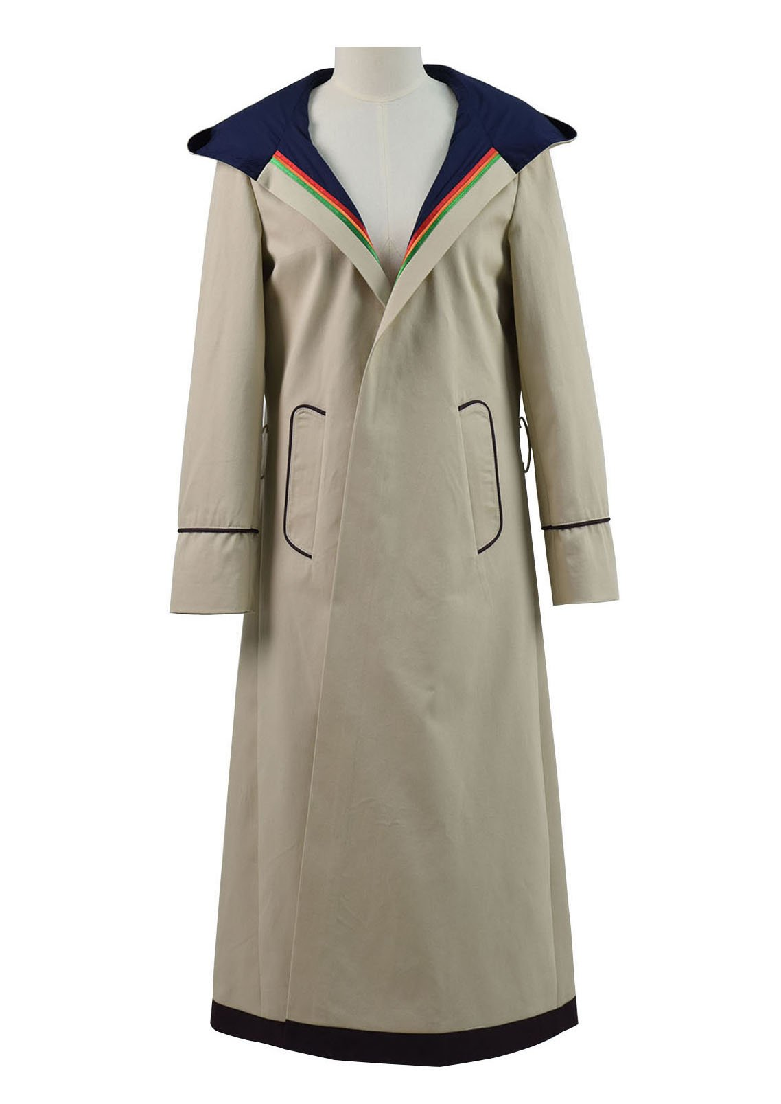 Very Last Shop Classic Sci-Fi TV Series 13th Doctor Costume Women Beige Trench Coat Overcoat (Beige, Custom-Made)