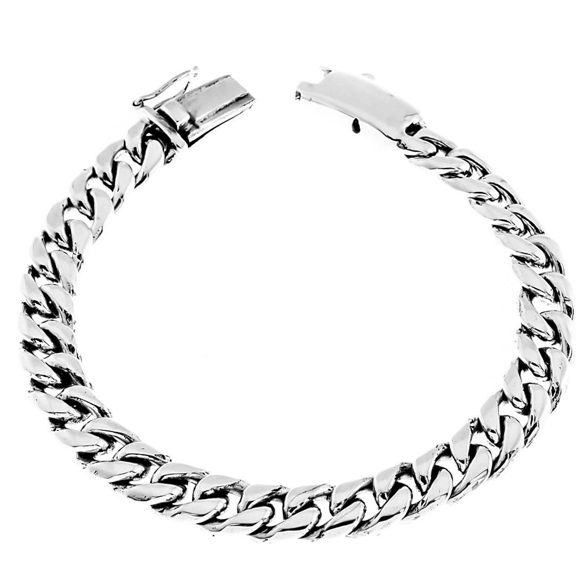 Length 8 8mm Wide Curb Chain Bali Handmade 925 Sterling Silver Bracelet, 7-9''