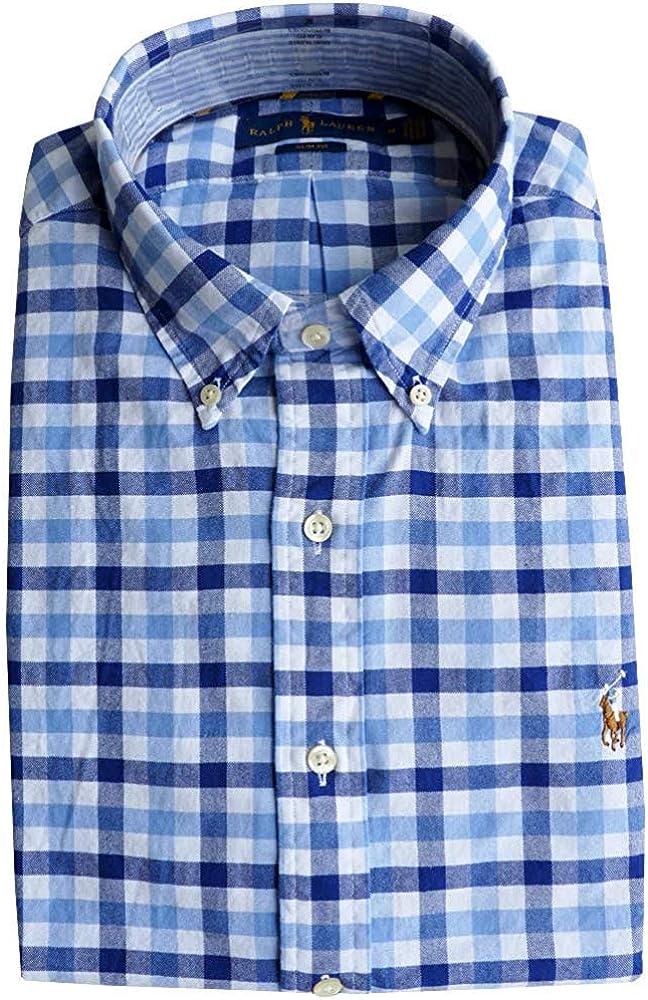 Ralph Lauren Hombre Slim Fit Camisa (Azul a Cuadros, L): Amazon.es ...