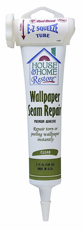 Red Devil 0878 House & Home Restore Premium Wallpaper Seam Repair, 5 Oz, Squeeze Tube, Mild Acrylic/Ammonia, Paste, Clear
