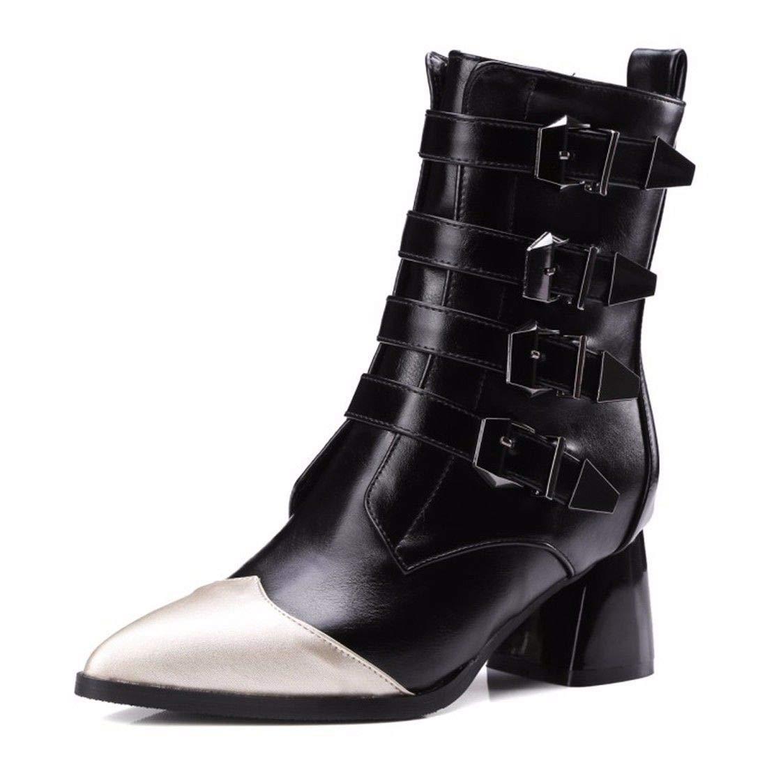 AIKAKA Frauen Herbst und Winter Europa und Amerika Sexy warme High Heel Schuhe Martin Stiefel