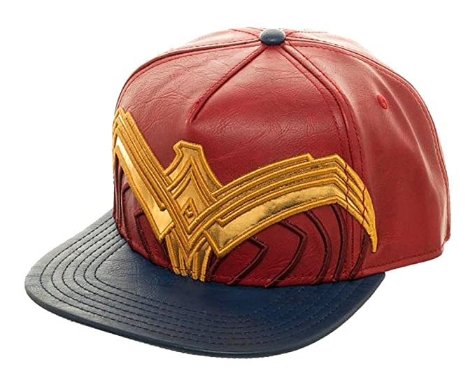 ec34123f62b6b1 Amazon.com: Wonder Woman Suit Up Applique Snapback Baseball Hat Red ...