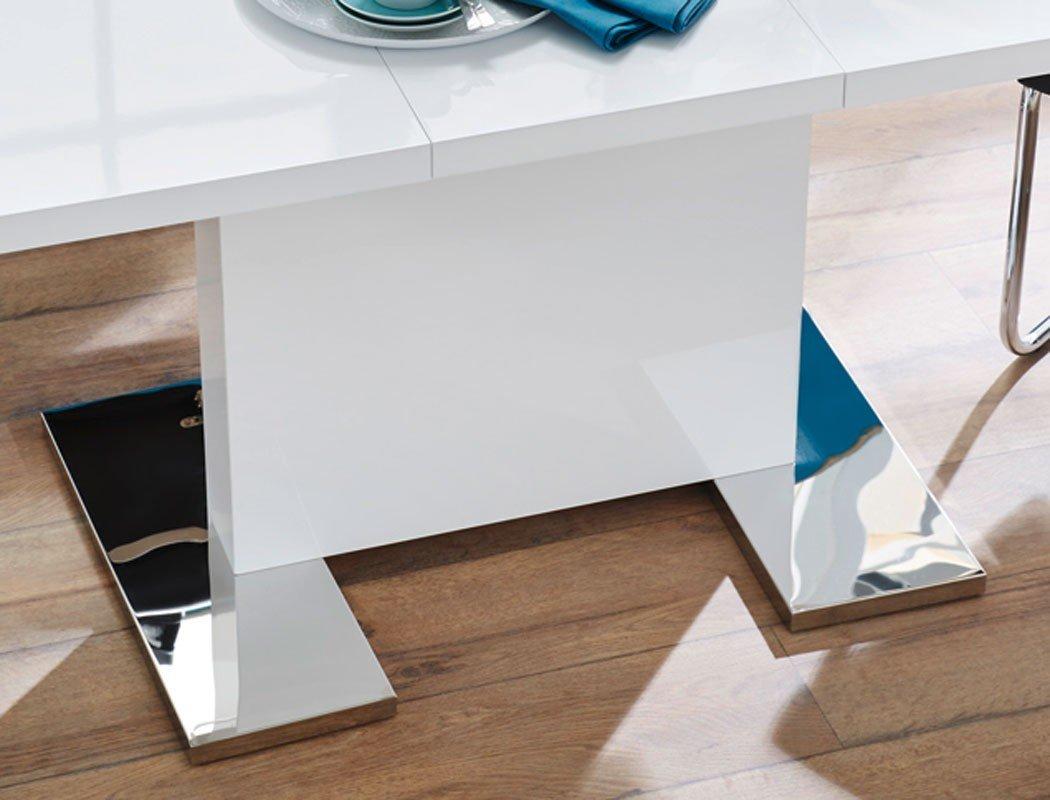 Esstisch weiß 160 ausziehbar  Esstisch Panos 120(160)x80 cm Säulentisch Hochglanz weiß ...