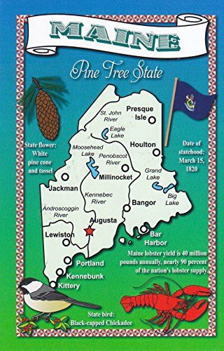 STATES4MAI MAINE - The Pine Free State; Statehood: 03/15/1820; Capital: Augusta; State bird: Black-capped Chickadee; A U.S. State POSTCARD - .. from - Augusta Light Fifteen