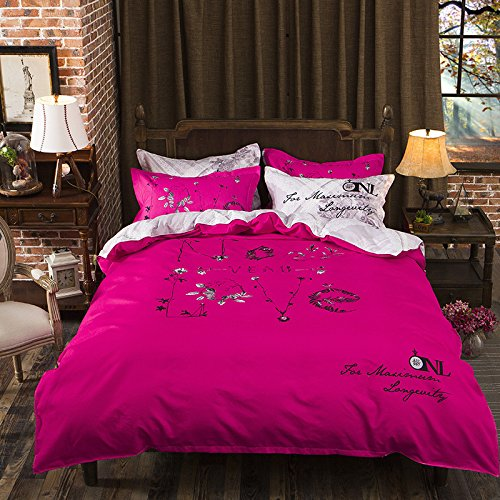 ManFan 4pcs Thicken Aloe Cotton Bedding Sets Solid Color AB Bed Protector Home Quilt Cover Blanket School Dorm Cartoon Print - Queen