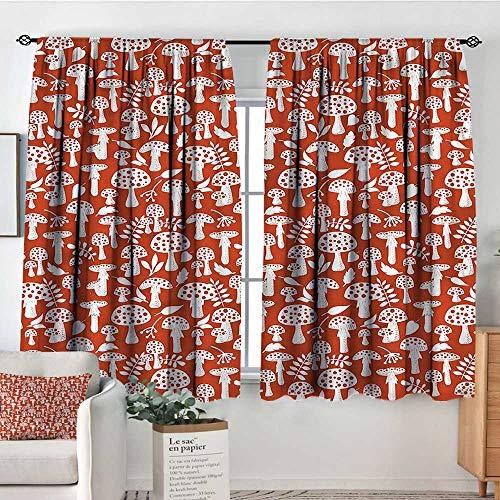 Anzhutwelve Mushroom,Modern Kids Curtain Leaves Berries Amanita 104