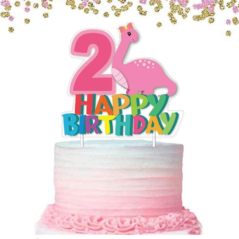 Dinosaur Cake Topper 2 Happy Birthday Cake Decoration for Girl