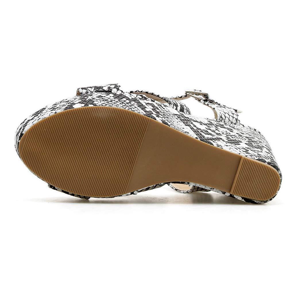 Darringls_Sandalias de Primavera Verano Mujer,Moda Sandalias Rebaño Grueso de tacón Alto Zip Sandalias Sólidas Peep Toe Zapatillas Boca de Pescado Zapatos ...