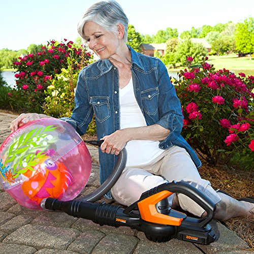 Worx AIR 20V Multi-Purpose Blower/Sweeper/Cleaner with 120 MPH / 80 CFM Output, 3.5 lb Weight, 20V Battery PowerShare Platform, with Accessories – WG545.1